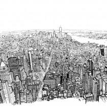 dessin ville manhattan perspective